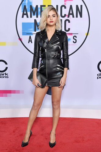 dress selena gomez leather leather dress pumps american music awards jacket