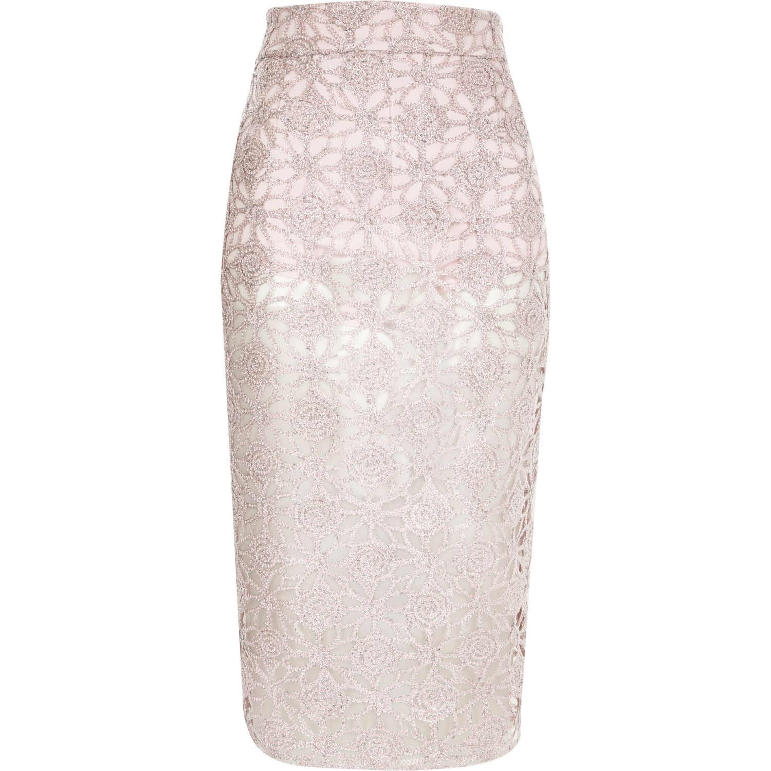 pink lace overlay pencil skirt