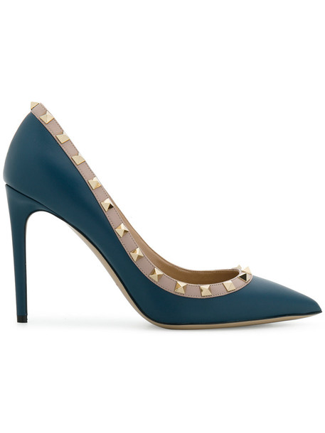 Valentino metal women pumps leather blue shoes