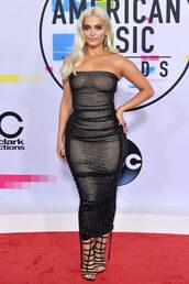 dress,bebe rexha,American Music Awards,bodycon dress,sandals,strapless