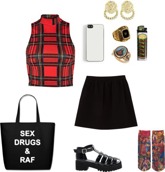 watch top tartan tartan skirt turtleneck skirt clothes lighter socks earrings