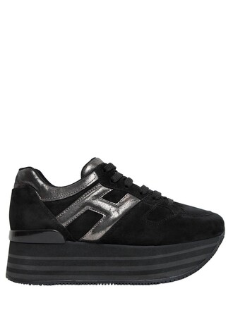 sneakers platform sneakers leather suede black shoes
