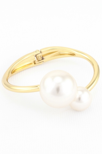 Oversized Pearl Hinged Cuff Bracelet