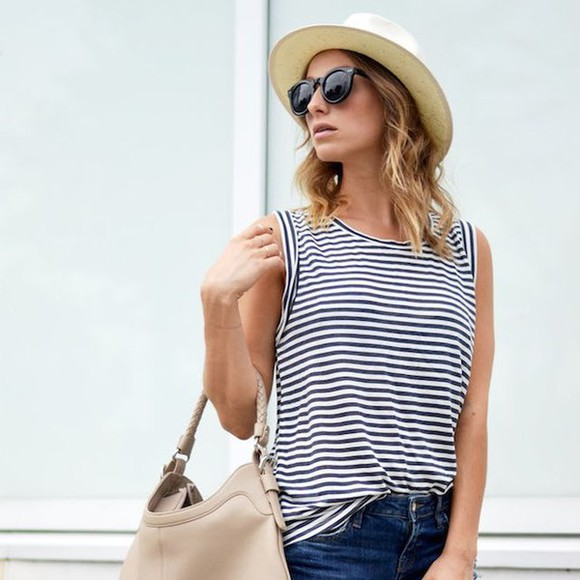 tank top sleeveless stripes muscle tank crewneck