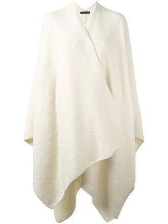 poncho oversized women white silk top