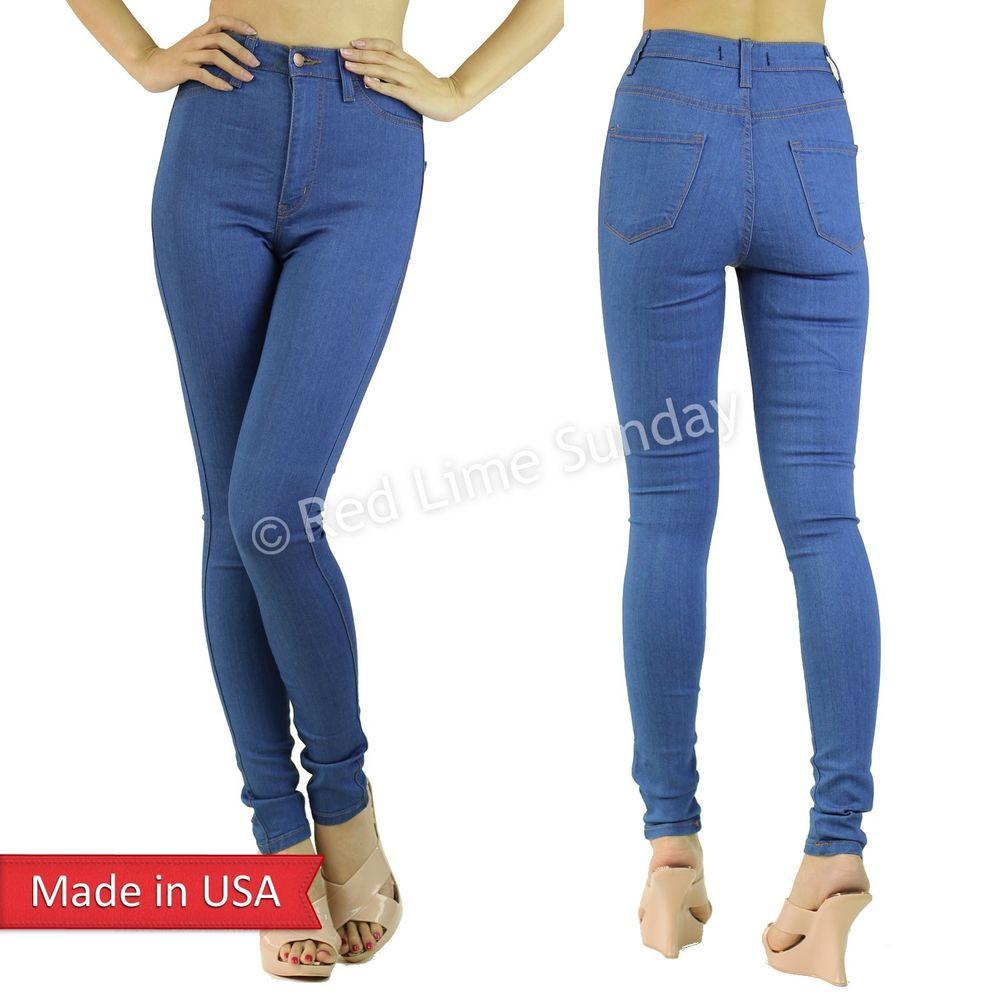 New vintage blue slim skinny fitted high waist denim jeans pants regular plus us