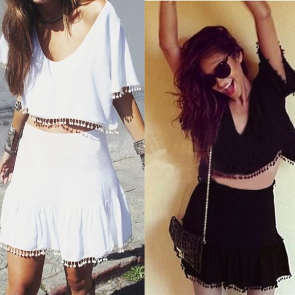 2015 hot sexy women lady girls casual short sleeve evening party tassels hollow out lace chiffon dress black white