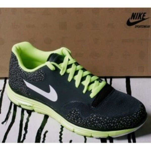 shoes, nike, green, black trainers, black shoes, black, lace