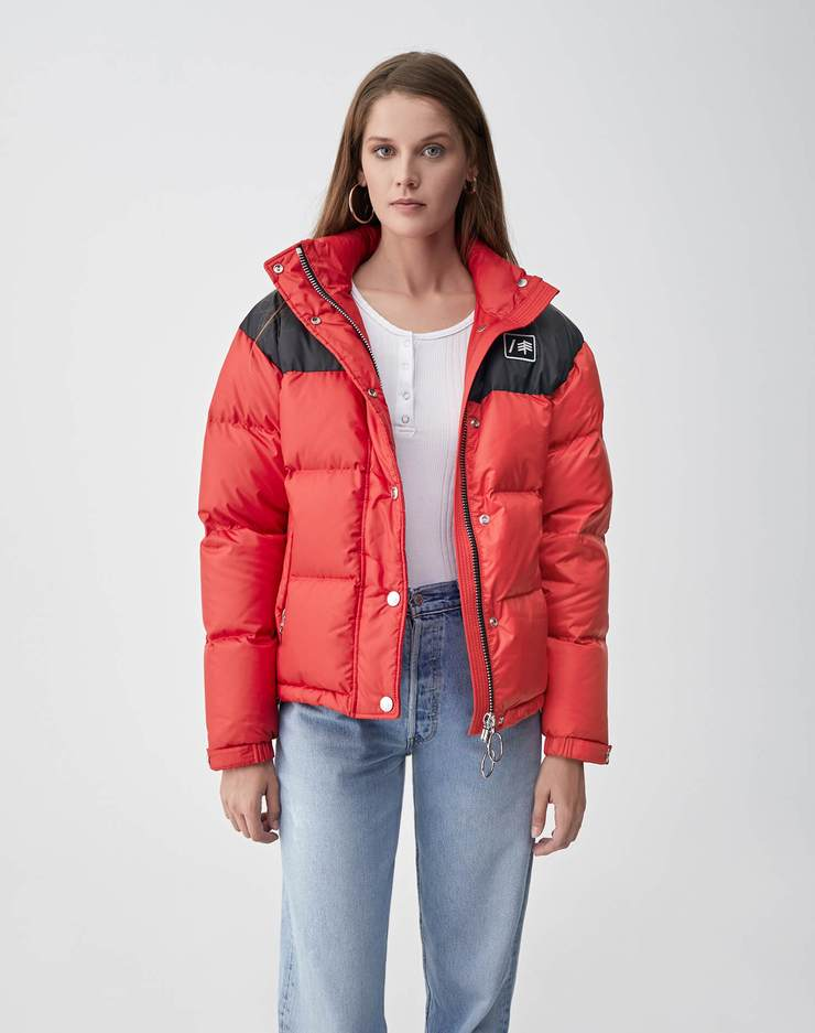 Cropped Down Puffer - Red & Black
