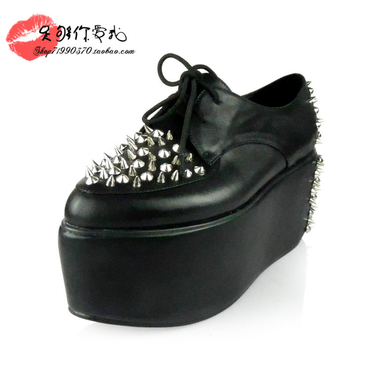 Jeffrey Campbell Stinger Spike Creeper fashion platform genuine leather women's shoes rivet shoes vintage punk women's shoes-inFlats from Shoes on Aliexpress.com