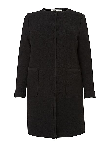Marina rinaldi notturno long sleeved wool cardigan coat black