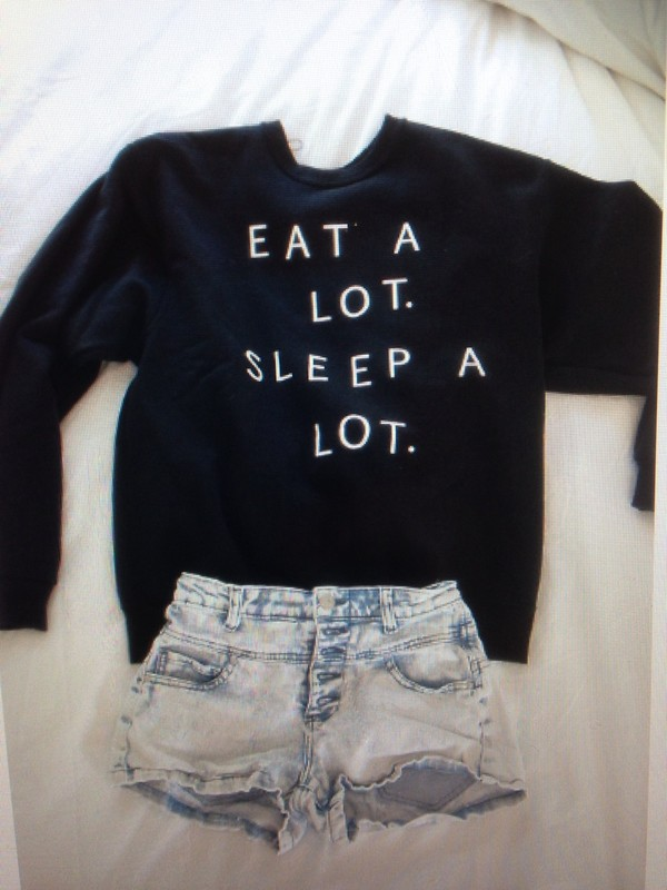 sweater black eat sleep wear