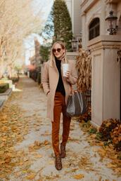 kelly in the city - a preppy chicago life,style and fashion blog,blogger,leggings,pants,coat,jacket,shirt,shoes,sweater,bag,fall outfits,fall colors,ankle boots,leopard booties,beige coat