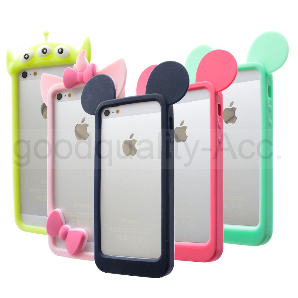 brand new c0baa 70a52 Mickey Mouse Bunny Ears Bumper Silicone Case For Apple iPhone 5/5s/4/4S/6/6