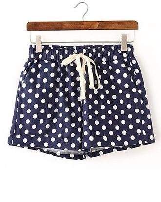 shorts polka dots navy white elastic waist shorts