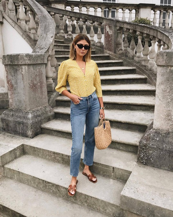 top yellow top jeans denim sunglasses bag shoes