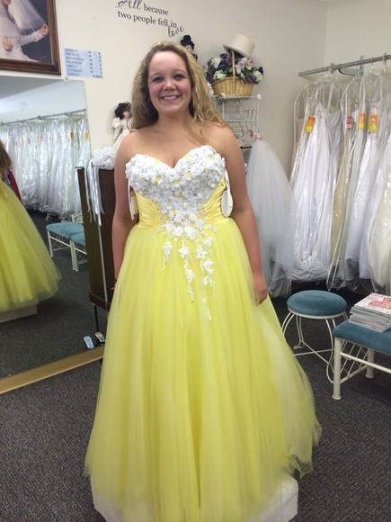 dress beaded yellow dress poofy dress flowers strapless dress laceup tulle skirt ruched dress long prom dresses