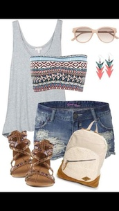shoes,flat sandals,sandals,brown sandals,underwear,tank top,bag,dark wash,ripped,yellow sunglasses,grey,denim,round sunglasses,brown shoes,gladiators,shirt,shorts,jeans,top,grey tank top,gray tank top,tribal bandeau