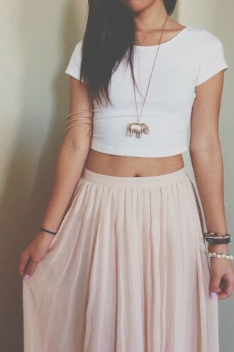shirt maxi crop tops jewels skirt maxi skirt pastel pastel pink indie pink maxi skirt elephant elephant bracelet top white crop tops