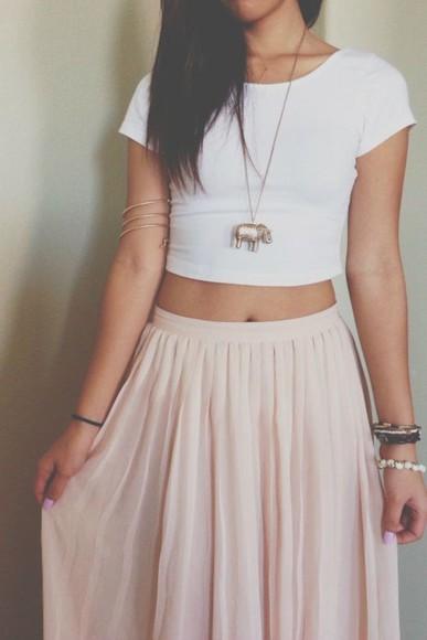 top white crop tops shirt maxi crop tops jewels skirt maxi skirt pastel pastel pink indie pink maxi skirt elephant elephant bracelet