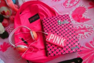 bag pink bag backpack jansport notebook barbie earphones