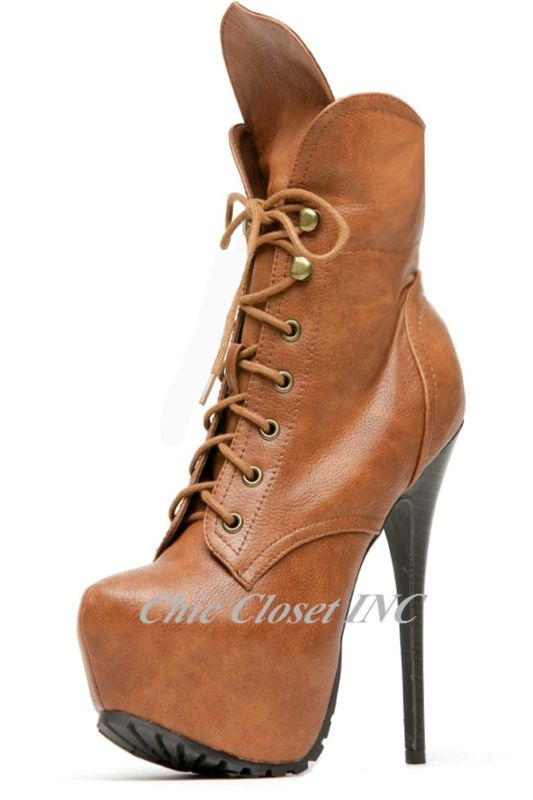 New Women Ankle Lace Up High Heel Platform Military Sexy Fux Leather Booties | eBay
