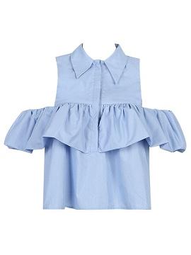 Light Blue Cold Shoulder Ruffle Detail Shirt - Choies.com