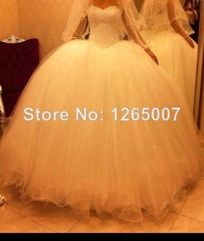 Aliexpress.com : Buy 2014 Sweetheart Sequins Pearl Shiny Beaded Tulle Ball Gown Wedding Dress Bridal Dress New from Reliable dresses prom dress suppliers on SFBridal