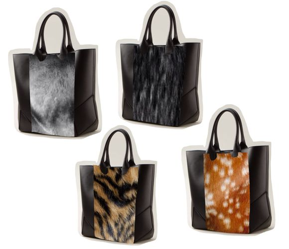 deer bag tote bag shopper fur tiger print looklike cool faux skin