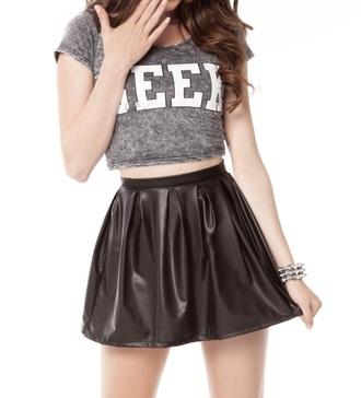 skirt leather skirt black skirt grey t-shirt crop tops