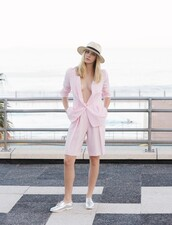 my life in pink,blogger,jacket,hat,tailoring,baby pink,shorts,pastel