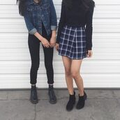 skirt,plaid,blue,black,white,grunge,punk,pants,denim jacket,grid skirt,tumblr,denim,jacket,black and white,cool,hipster,plaid skirt,striped skirt,blue navy,school uniform,back to school,pleated skirt,blue jean jacket,jean jackets,shoes,boots,booties,black long sleeve top,shirt,tumblr outfit