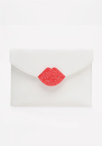 bag clutch leather lipstick lips red lipstick