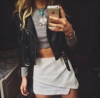 top grey top grey crop top leather jacket white skirt jacket