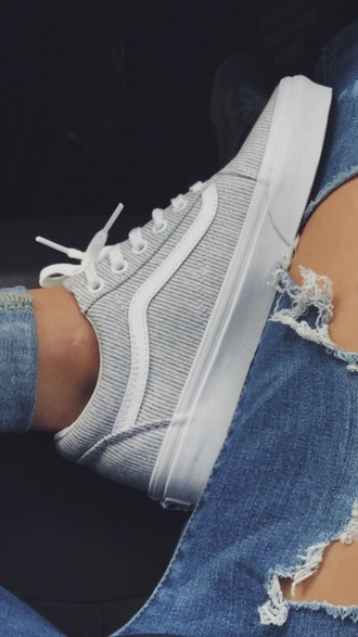 shoes vans sneakers skateboard stripes white grey blue tennis shoes