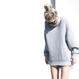 sweater knitted crewneck turtleneck grey pure loveaesthetics knit oversized