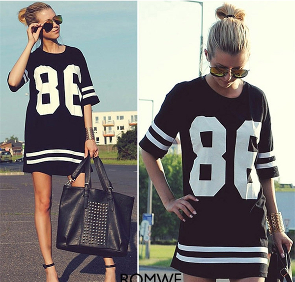 Letter 86 Print Shirt Women Celebrity Big size American Baseball Tee Black T shirt Top Short Sleeve Loose Active Dress 850220-in T-Shirts from Apparel & Accessories on Aliexpress.com