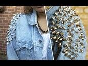 jacket,spiked,denim,studs,beautiful