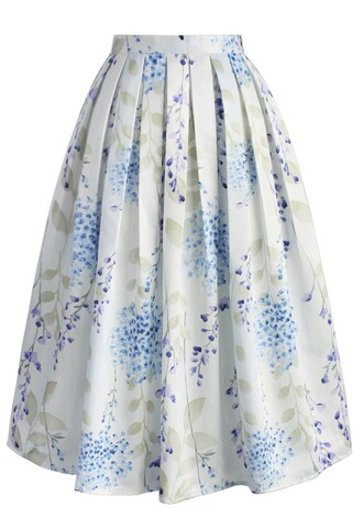 skirt tranquil watercolor floral midi skirt chicwish midi skirt floral