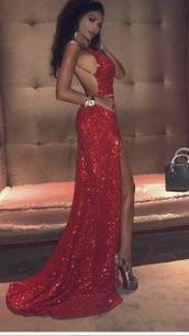 dress,red,sparkle,open back,long,slit
