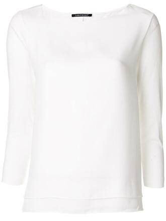 blouse basic women white cotton top