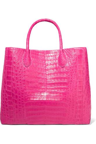 crocodile magenta bag
