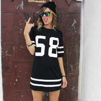 dress shift black dress loose dress sunglasses