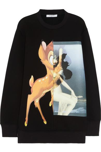 Givenchy|Black Bambi print neoprene sweatshirt|NET-A-PORTER.COM