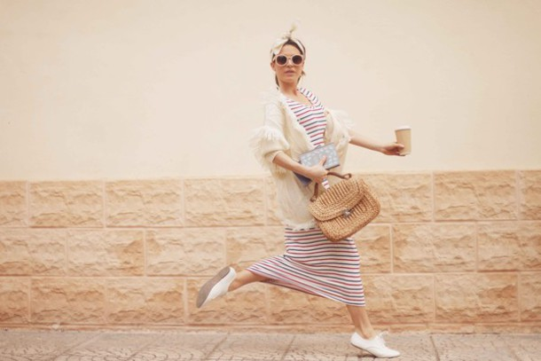frassy blogger dress cardigan bag scarf sunglasses basket bag maxi dress striped dress flats white flats bandana