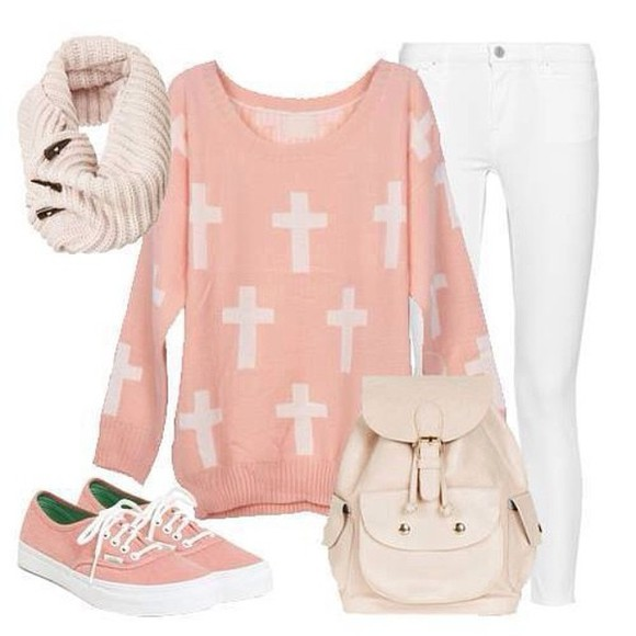 pink cross hipster cute girly outfit outfit idea jeans