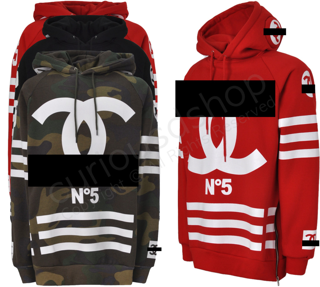 New No 5 Coco Print Homme Femme Hooded Sweatshirt Hoodie Side Zip Designer Logo
