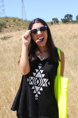 blouse tank top neon black outfit girl blog blogger aztec sunglasses top the fashion addicted bag