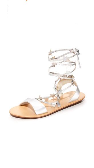 sandals flat sandals silver shoes