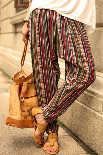 pants bohemian hippie hippie chic hippie pants bohemian pant aztec aztec printed one piece girl women brown red summer summer outfits bag earth travel travel bag
